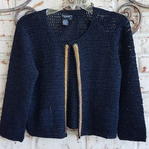 Doncaster crocheted cardigan sweater.